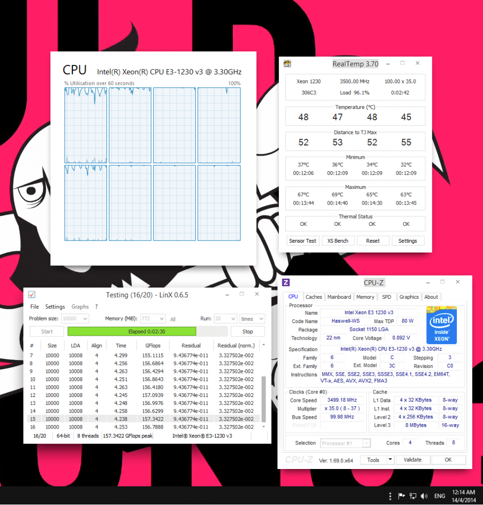 0.892V (CPUZ) 0.0852V (BIOS)